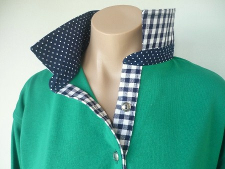 Emerald green Rugby - Small navy spot & Big navy check trim