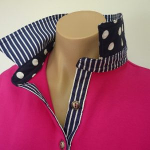 Hot pink rugby - Navy stripe and spot trim