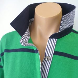 Green & Navy stripe rugby - Navy & navy stripe trim *Size XL only