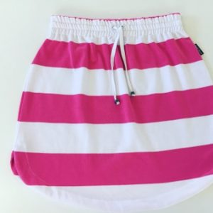 Womens Hot pink & White stripe rugby Skirt