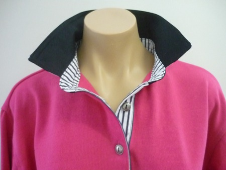 Hot pink rugby - Navy and navy stripe trim