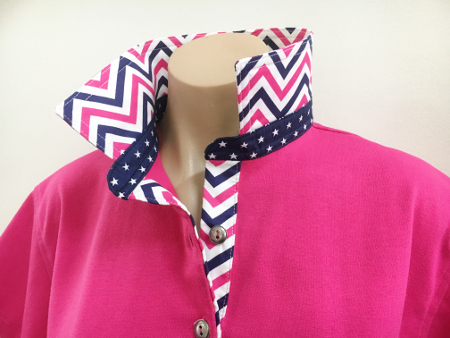 Hot pink Rugby - Chevron & small navy stars