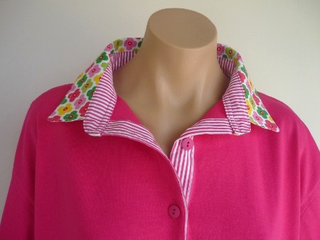 Hot pink rugby - White daisy & pink stripe