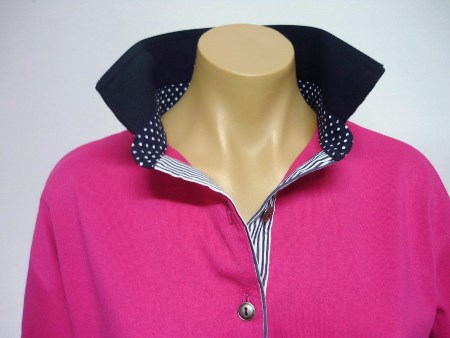 Hot pink rugby - Plain navy, dark navy spot collar stand & navy stripe