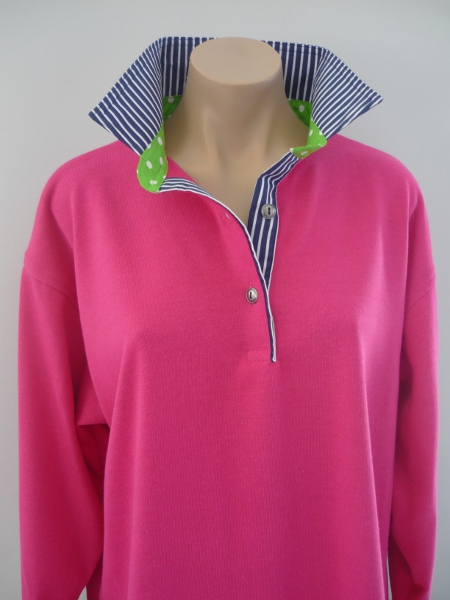Hot pink Rugby - Navy stripe & Lime spot
