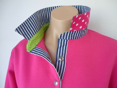 Hot pink rugby - Navy stripe & lime spot & hot pink spot back of collar