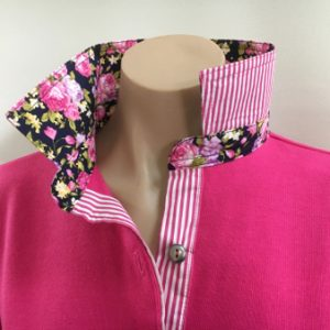 Hot pink Rugby - Small navy floral & hot pink stripe