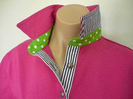 Hot pink - self fabric top collar, lime spot stand and navy stripe
