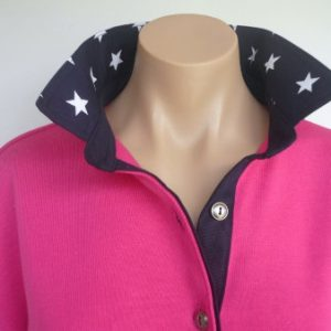 Hot pink rugby - Plain navy & Navy star collar