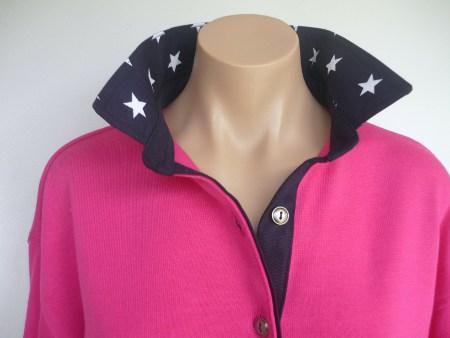 Hot pink rugby - Plain navy & Navy star collar