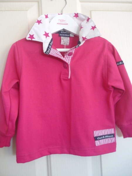 Girls Hot pink rugby - White/pink star trim