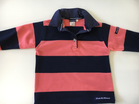 Kids Navy & Coral Stripe Rugby - small navy spot