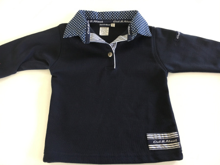 Navy kids rugby - small & large navy spot & navy stripe