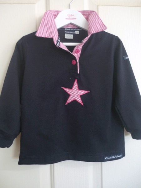 Navy girls rugby - small hot pink check