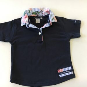 Navy kids rugby - stripe floral trim