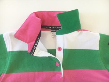 Kids Pink/green/white Stripe Rugby - pink & green trim