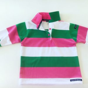 Kids Pink/green/white Stripe Rugby - pink & green trim