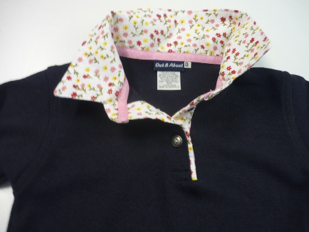 Girls navy rugby - Small floral trim