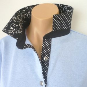 Light blue rugby - Black swirl, small spot & stripe