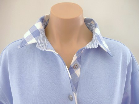 Light Blue - Large lt blue check and small check collar stand