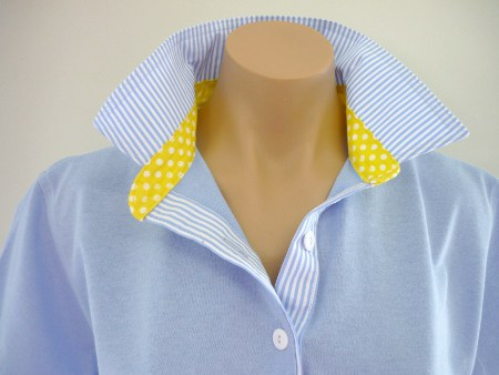 Light blue - Light blue stripe & yellow spot collar stand