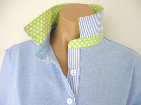 Light blue rugby - Light lime spot with tiny baby blue pin spot & stripe