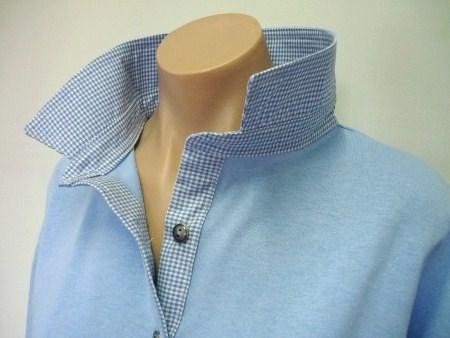 Light blue rugby - light blue small check trim