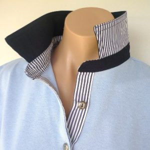 Light blue rugby - Navy & navy stripe trim