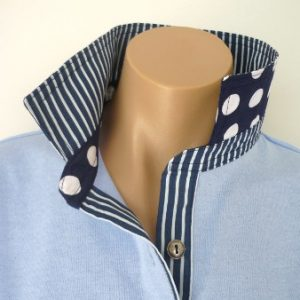 Light Blue Rugby - Navy stripe & spot trim