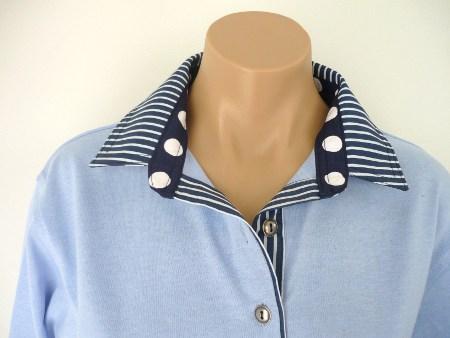 Light Blue Rugby - Navy stripe & spot trim
