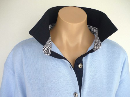 Light Blue Rugby - Navy collar & tab with crisp navy check stand
