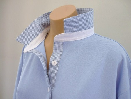 Light blue - small Lt blue check and white collar stand