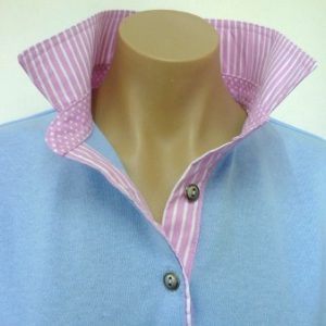 Light blue - light pink stripe collar and tab and small spot stand