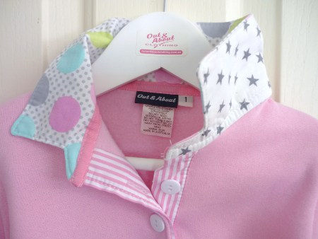 Light pink kids rugby  - Pastel spot & small grey stars
