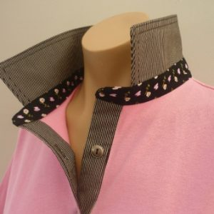 Light pink - Black thin stripe and floral collar stand