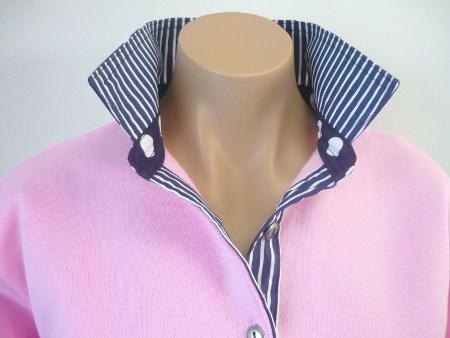 Light pink rugby - Navy stripe & spot trim