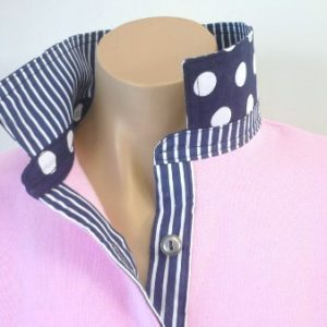 Light pink rugby - Navy stripe & spot trim