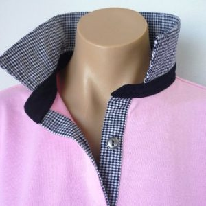 Light pink - Small navy check and plain navy stand