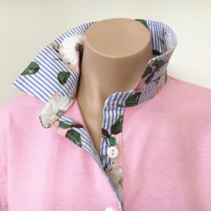 Light pink rugby - Roses on stripes