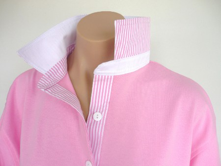Light pink rugby - White and matching light pink stripe