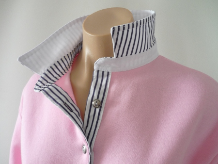 Light pink rugby - white collar and thin navy stripe