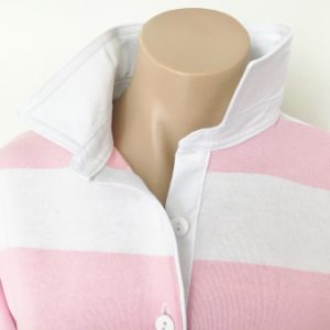 Light pink & white stripe - Plain white trim