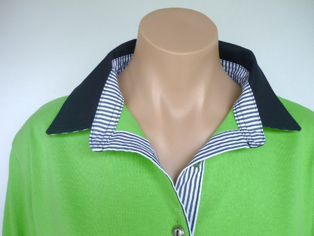 Lime rugby - Navy & Navy stripe trim