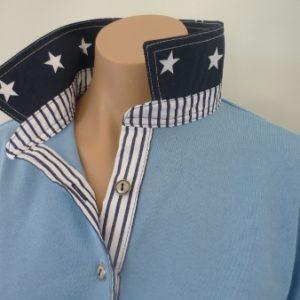 Light blue - Navy star collar and navy stripe