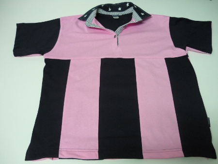 Light Pink and navy sewn stripe rugby