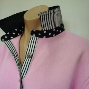 Light pink - Black top collar, big black spot and classic stripe