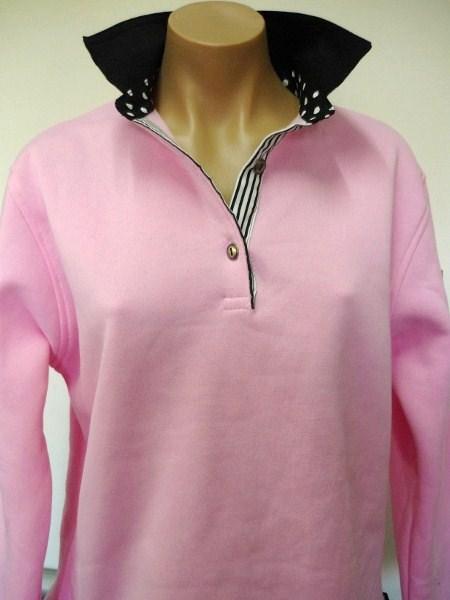 Light pink - Black top collar, big black spot and classic stripe