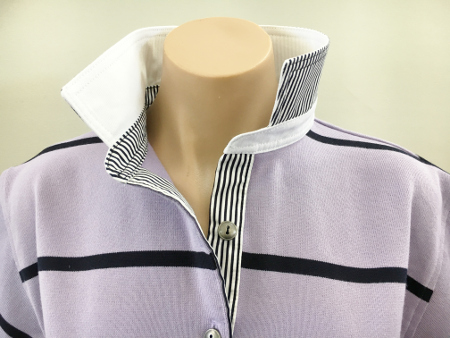 Mauve & Navy stripe Rugby -White and navy stripe