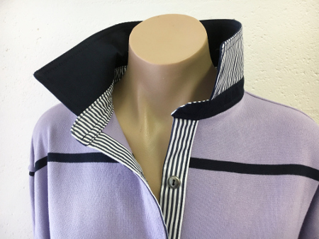 Mauve & Navy stripe Rugby - Navy & navy stripe trim