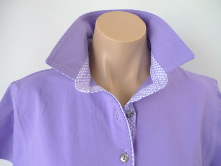 Mauve Rugby - Self fabric top collar & matching purple spot